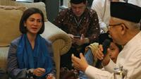 Politikus Partai Nasdem, Wanda Hamidah saat bertemu Cawapres nomor urut 01 Ma'ruf Amin. (Merdeka.com)