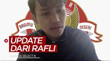 Berita video pemain Garuda Select III, Rafli Asrul, membahas soal latihan saat terjadi lockdown di Inggris, dan ia juga mengungkit sedikit soal pergantian posisi dari kiper menjadi gelandang.