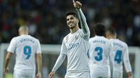 Marco Asensio mengoleksi jumlah gol yang sama dengan Isco yakni empat gol, capaian tersebut membuat dirinya bercokol pada puncak klasemen sementara top scorer klub. (AP/Francisco Seco)