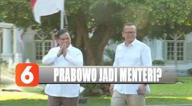 Prabowo menyampaikan dirinya diminta Presiden membantu di bidang pertahanan.