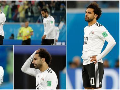 Berikut ini ragam ekspresi kekecewaan pemain bintang Mesir, Mohamed Salah, usai ditaklukkan Rusia pada laga Piala Dunia 2018. (Foto-foto Kolase AP)