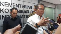 Menkominfo Rudiantara saat bertemu dengan rekan media di Jakarta, Selasa (15/5/2018). Liputan6.com/ Agustin Setyo Wardani