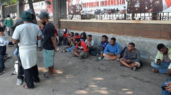 Aliansi Mahasiswa Papua Berunjuk Rasa di Polda Metro Jaya. (Foto: Yopi Makdori/Liputan6.com)