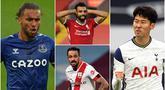Penyerang Tottenham Hotspurs, Son Heung-min, bersaing ketat dengan striker Everton, Dominic Calvert-Lewin, dalam raihan jumlah gol di pekan kelima Liga Inggris 2020/2021. Berikut top skor sementara Liga Inggris hingga pekan kelima musim ini. (kolase foto AFP)