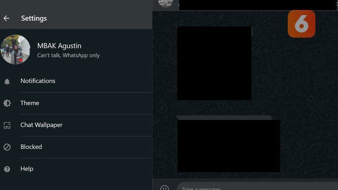 Langkah-langkah aktifkan Dark Mode di WhatsApp Web (Liputan6.com/ Agustin Setyo W)