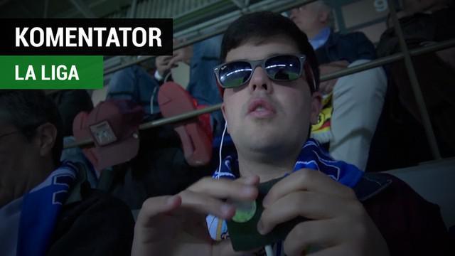 Berita video aksi komentator buta, Juan Antonio Zamora, saat laga La Liga, Malaga vs Barcelona.
