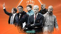Peter Bosz, Erik ten Hag, Mark van Bommel, Frank de Boer, Arsene Wenger dan Louis van Gaal. (Bola.com/Dody Iryawan)