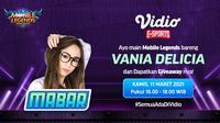Live streaming Main Bareng Vania Delicia, Kamis (11/3/2021) pukul 16.00 WIB dapat disaksikan melalui platform Vidio, laman Bola.com, dan Bola.net. (Dok. Vidio)