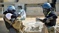 Ilustrasi serangan senjata kimia (AP/United Media Office of Arbeen)