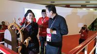 Ketua Umum PDIP Megawati Soekarnoputri bersama Sekjen Hasto Kristiyanto dan Prananda Prabowo, Minggu (10/1/2020). (Liputan6.com/ Putu Merta Surya Putra)