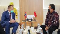 Menteri Kelautan dan Perikanan Sakti Wahyu Trenggono menerima Duta Besar Norwegia, Mr Vegard Kaale di Kantornya, Jakarta. (Dok: PUPR)