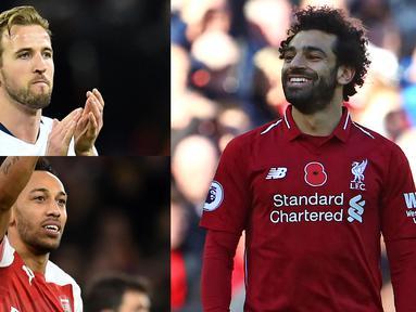 Dua gol Mohamed Salah ke gawang Crystal Palace membuat Salah memuncaki daftar top scorer Premier League. Kini Salah mengumpulkan 16 gol, selisih dua gol lebih banyak dari Harry Kane yang berada di bawahnya. (Kolase Foto AFP)