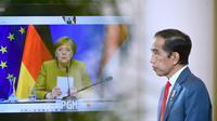 Presiden Jokowi dan Kanselir Angela Merkel melakukan Pertemuan Bilateral secara virtual. (Foto: Muchlis Jr - Biro Pers Sekretariat Presiden)