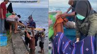 Persalinan darurat ibu hamil di tengah laut. (TikTok/tania_ahmad)