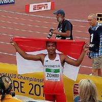 Atlet muda Indonesia, Lalu Muhammad Zohri, menjadi kampiun pada Kejuaraan Dunia Atletik U-20 2018 di Tampere, Finlandia, Rabu (11/7/2018). (Instagram/Imam Nahrawi)