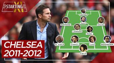 Berita motion grafis starting XI Chelsea saat juara Liga Champions 2011-2012 , ada Frank Lampard dan Didier Drogba.