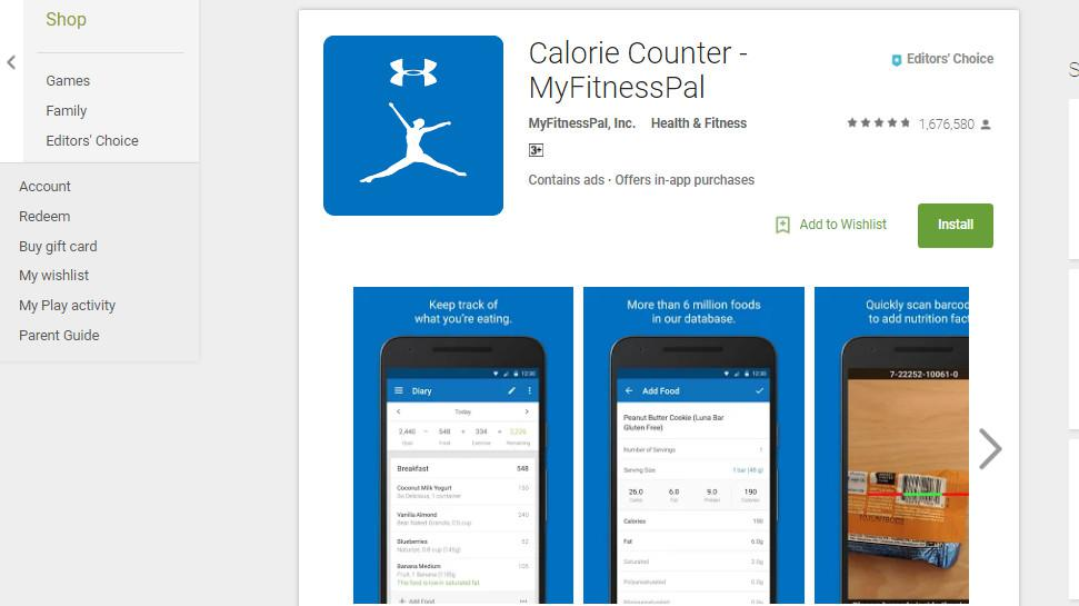 Calorie Counter - MyFitnessPal (Sumber: Google Play Store)