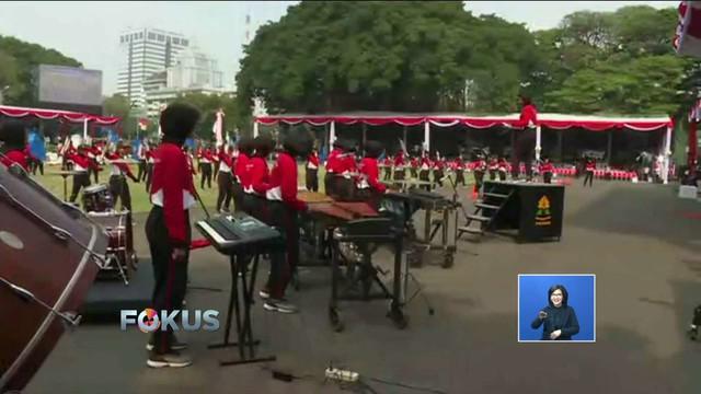 Rabu 15 Agustus, para pengisi acara upacara kemerdekaan melaksanakan gladi bersih di Istana Merdeka.