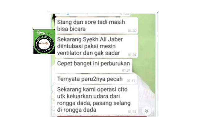Tangkapan layar kondisi Syekh Ali Jaber paru-parunya pecah
