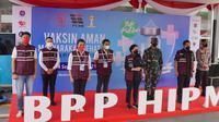 Himpunan Pengusaha Muda Indonesia (HIPMI) adakan kegiatan vaksinasi massal dalam acara Vaksin Aman, Masyarakat Sehat #2 di Pasar Ikan Modern Muara Baru, Jakarta Utara pada 2-4 September 2021.