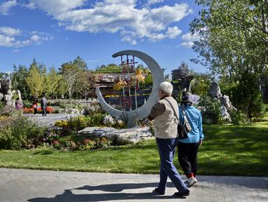 Orang-orang mengunjungi Beijing Garden Expo Park di Distrik Yanqing, Beijing, China, 17 September 2020. (Xinhua/Li Xin)