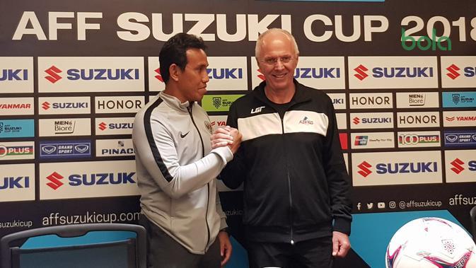 Pelatih Timnas Filipina, Sven-Goran Eriksson dalam konferensi pers di Hotel Sultan, Sabtu (24/11/2018). (Bola.com/Zulfirdaus Harahap)
