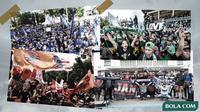 Suporter fanatik di Liga Indonesia: The Jakmania, Bonek Mania, Bobotoh dan Aremania. (Bola.com/Dody Iryawan)