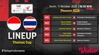 Link Live Streaming Indonesia vs Thailand Piala Thomas 2020 di Vidio Malam Ini. (Sumber : dok. vidio.com)