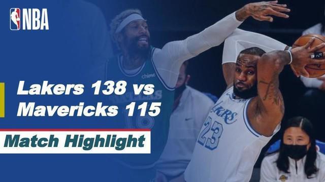 Berita video highlights NBA 2020/2021 antara LA Lakers melawan Dallas Maverick yang berakhir dengan skor 138-115, Sabtu (26/12/2020) siang hari WIB.