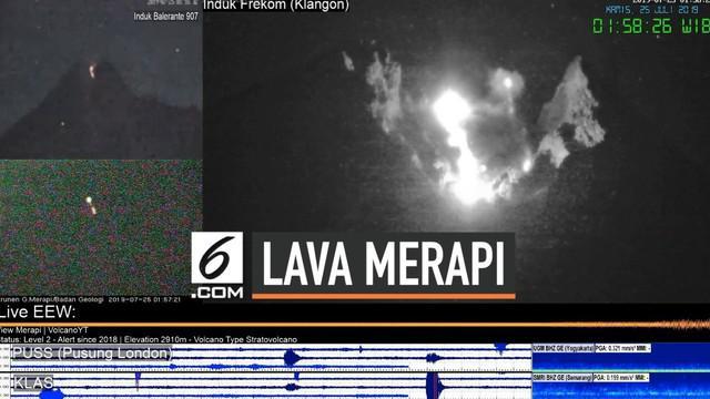 Erupsi gunung Merapi kembali terjadi Kamis (25/7) dini hari. Luncuran lava pijar terekam kamera pemantau. Hingga saat ini gunung Merapi masih berstatus waspada.
