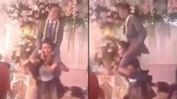 biduan gendong pengantin pria (foto: twitter)