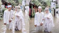 Potret Pernikahan Pasangan saat Banjir di Bekasi (Sumber: Instagram/rizkifdll)