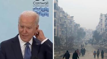 Presiden AS Joe Biden terbalik saat ucapkan Libya dan Suriah di pertemuan G7, Inggris.