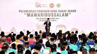 Presiden Jokowi meresmikan program Bank Wakaf Mikro (BWM) Pondok Pesantren Mawaridussalam, di Kecamatan Batang Kuis, Kabupaten Deli Serdang, Sumatera Utara. (Setpres)