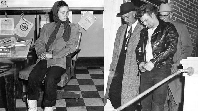 Caril Ann Fugate dan Charles Starkweather (tengah, diborgol) (kredit: Casper College Western History Center)