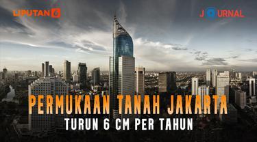 Poster Jurnal Pemukaan Tanah Jakarta turun 6 cm per Tahun