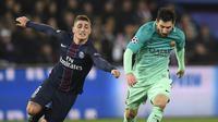 Marco Verratti (kiri) mungkin bermain dengan Messi di Barcelona musim depan (CHRISTOPHE SIMON / AFP)