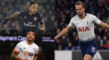 Harry Kane dan Pierre Emerick Aubameyang saling bersaing menjadi pemuncak daftar top scorer Premier League. Saat ini kedua pemain sudah mencatatkan 14 gol namun Harry Kane unggul dalam menciptakan assist. (Kolase Foto AFP)