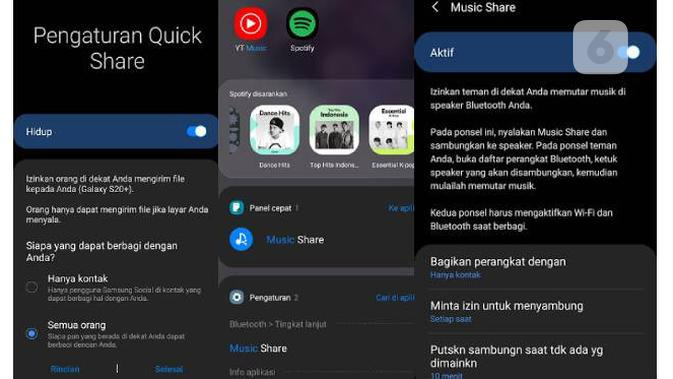 Fitur Quick Share dan Music Share di One UI 2.1. Liputan6.com/Iskandar