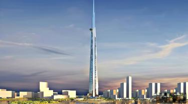 Arab Saudi dalam proses membangun gedung pencakar langit bernama Kingdom Tower. Gedung ini digadang-gadang menjadi yang tertinggi di dunia dengan ketinggian lebih dari 1 km. (www.theguardian.com)