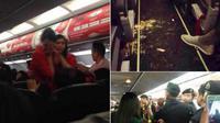 Seorang pria lain melontarkan ancaman bom ke pesawat. Sedangkan si wanita pelaku penyiraman mengancam akan bunuh diri.
