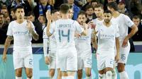 Manchester City mengamuk di markas Club Brugge dalam lanjutan Liga Champions 2021/2022, Selasa (19/10/2021). Skuad Pep Guardiola itu menang telak dengan skor 5-1. (AP//Olivier Matthys)