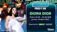 Live streaming Main Bareng Free Fire bersama Diora Dior, Jumat (16/4/2021) pukul 19.30 WIB dapat disaksikan melalui platform Vidio, laman Bola.com, dan Bola.net. (Dok. Vidio)