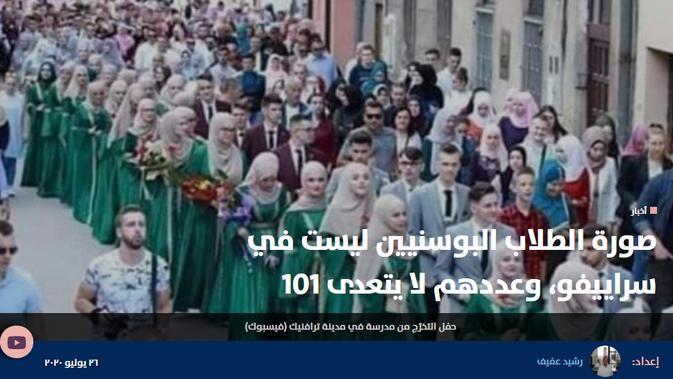 Cek Fakta Liputan6.com menelusuri klaim foto wisuda 4 ribu hafiz di Sarajevo Bosnia