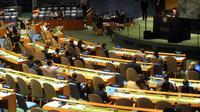 Wapres Jusuf Kalla mewakili Indonesia menyampaikan pidato pada sesi Debat Umum Sidang Majelis Umum PBB ke-72 di New York, Kamis (21/9). Kemajuan HAM dan reformasi PBB menjadi salah satu isu perhatian Indonesia pada Sidang tahun ini. (TIM MEDIA WAPRES)