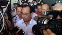 Menteri Perhubungan Budi Karya usai menghadiri Dialog Nasional Indonesia Maju di Kota Medan, Kamis (5/7/2018). (Liputan6.com/Reza Efendi)