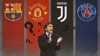 Ilustrasi - Antonio Conte: Barcelona, Manchester United, Juventus, PSG (Bola.com/Adreanus Titus)
