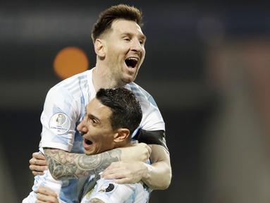 Timnas Argentina akhirnya memastikan satu tempat di semifinal ajang Copa America 2021 usai membungkam Ekuador. (Foto:AP/Andre Penner)
