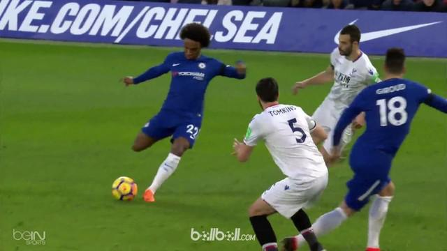 Willian mencetak satu gol saat Chelsea menang atas Crystal Palace 2-1. This video is presented by Ballball.