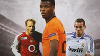 Ilustrasi - Dennis Bergkamp, Denzel Dumfries, Wesley Sneijder (Bola.com/Adreanus Titus)